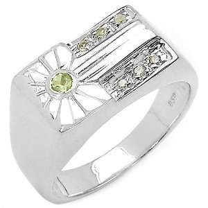 0.20 Carat Genuine Peridot & Diamond Sterling Silver Ring