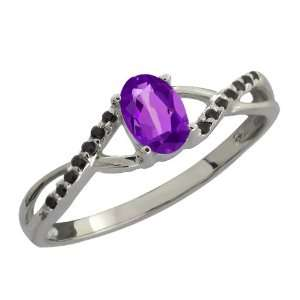 0.53 Ct Oval Purple Amethyst and Black Diamond 10k White
