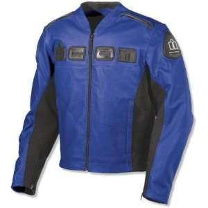 Icon Mens Accelerent Leather Motorcycle Jacket Blue Small S 2810 1258