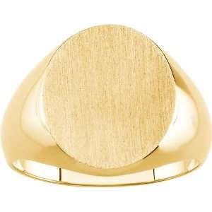 14 karat yellow gold Mens Gold Signet Ring: Diamond