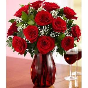 One Dozen Long Stemmed Red Roses:  Grocery & Gourmet Food