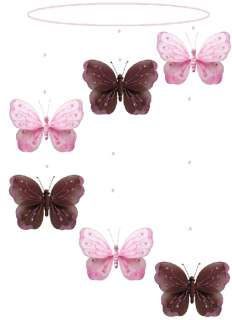 BROWN PINK spiral SHIMMER hanging nursery BUTTERFLY MOBILE butterflies