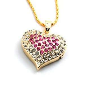 New 8GB Silver Mixed Rose Pink Heart Shape Crystal Diamond
