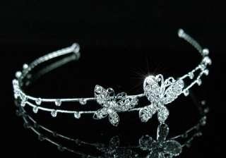 Wedding Bride Flower Girl Butterfly Crystal Tiara T1318