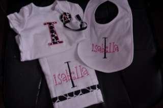 Monogrammed Baby Set Burp Cloth Bib Onesie Paci Clip