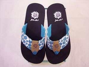 Yellow Box Flip Flops Folklore Turquoise Blue Polka Dot