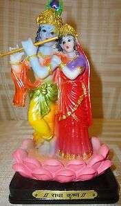HINDU GOD LORD KRISHNA HARI & RADHA PLAYING FLUTE STATUE INDIA FREE OM