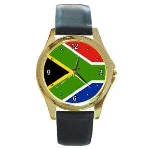 South Africa African Flag Round Gold Tone Watch