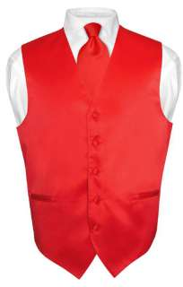Mens RED Dress Vest Bow Tie Set for Suit or Tuxedo