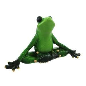 Meditating Green Yoga Tree Frog Statue Lotus Position: Home & Kitchen