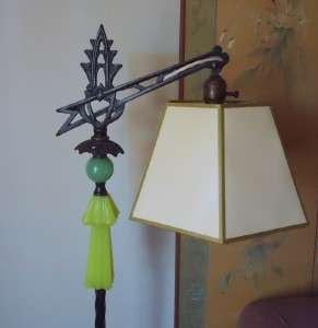 1920 ART DECO floor lamp, Jadeite green & YELLOW Houze glassORIGINAL
