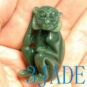 Natural Green Nephrite Jade Carving Monkey Figurine