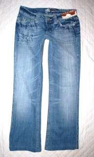 MISS ME JEANS 27 Cowhide rhinestone flap pocket boot cut