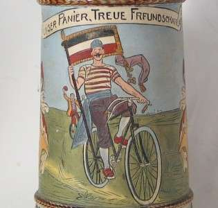 Antique German Beer Stein Bicycle Bike Etched J.W.Remy c.1890