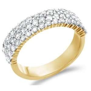 Size   12.5   14k Yellow Gold Diamond Three 3 Row Wedding Anniversary