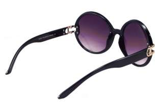 Retro Large Round Women Black Hippie Sunglasses 1183