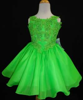 Little Girl Glitz Pageant flower Formal Dress Lime size 1234567