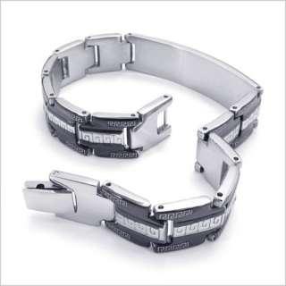 Mens Stainless Steel Black Greek Key Bracelet Bangle BL125
