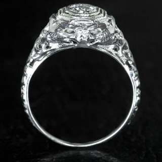 EUROPEAN CUT DIAMOND VINTAGE FILIGREE ANTIQUE RING TRUE DECO