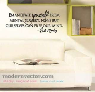 Bob Marley Vinyl Wall Quote Decal Mental Slavery