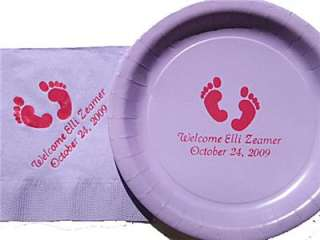 30/30/50 Personalized Baby Shower Plates Napkins w/logo