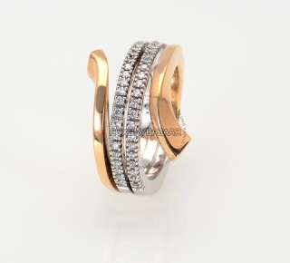 Damiani 18K Rose & White Gold & Diamond Split Band Ring