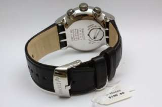 New Swatch Irony The Chrono Standard Your Turn Black Leather Watch