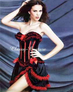 Spanish Moulin Rouge Burlesque Corset & Skirt Costume  Sz 6/8/10/12/14