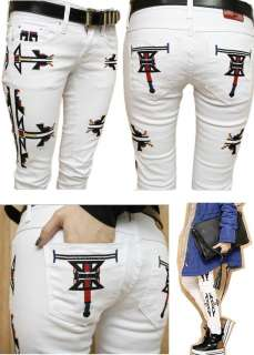 EMBROIDERED skinny jeans WHITE 26 27 28 29 30 UK 6 8 10 12