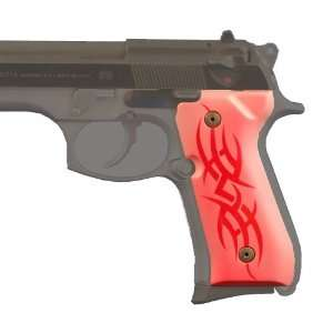Hogue Beretta 92 Grips Tribal Aluminum Red Sports