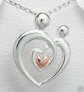 Tone Silver Mother Child Rose Heart Pendant Necklace
