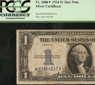DOLLAR BILL STAR SILVER CERTIFICATE FUNNYBACK NOTE Fr 1606* PCGS VF 20