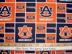 Auburn University Tigers 100% Cotton Fabric   NCAA College Sports