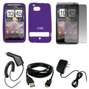 EMPIRE Purple Silicone Skin Cover Case + Screen Protector + Car