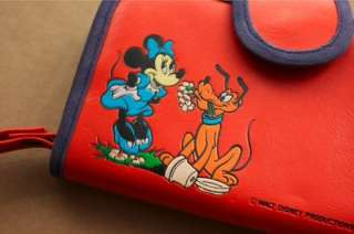 1960s vtg retro Walt Disney Productions Minnie Mouse Pluto red wallet