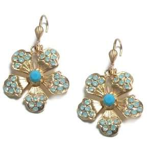 Catherine Popesco 14K Gold Plated Dangle Flower Earrings with Pacific