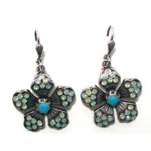 Catherine Popesco Sterling Silver Plated Flower Dangle Earrings with