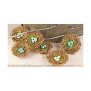 Prima Flowers Cradle Bird Nest With Eggs 1.75 6/Pkg Robin