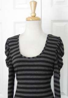Gorgeous REISS Gray & Black Strpped Shift Dress Sz M