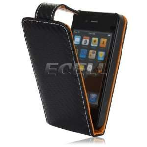 Ecell   NEW BLACK & TAN WEAVE LEATHER FLIP CASE FOR iPHONE