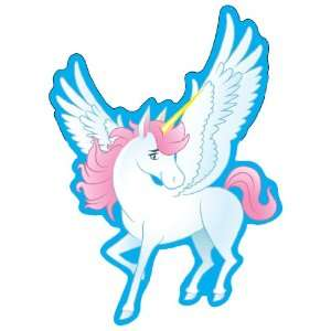 White Unicorn w/ Pink Hair & Wings Window Decal Sticker Car Truck SUV