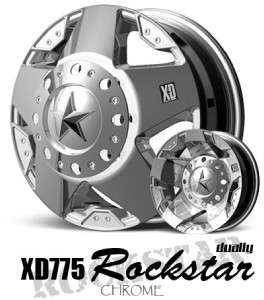 17 inch KMC XD Rockstar chrome Ford Dually wheels 8x170