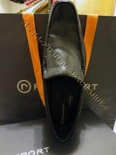 ROCKPORT MENS FAIRWOOD MOCS VENETIAN LEATHER DRESS SHOES BLACK SIZE 9