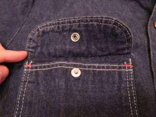 Vtg 60s? Mens Wrangler Dark Blue Denim Jean Barn Rancher Jacket Shirt