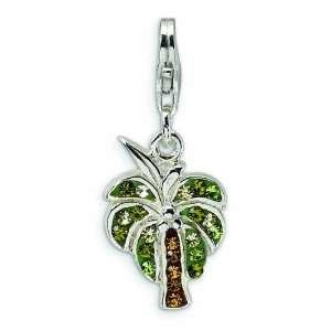 Silver Polished Swarovski Crystal Palm Tree W/Lobster Clasp Charm