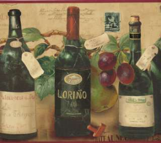 IMPORT FROM FRANCE WINES BOTTLES & GRAPES 10 1/4 inch WIDE Wallpaper