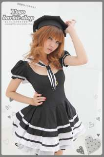 Japan Sexy Sailor School Girl Sweet Hat Dress Costume