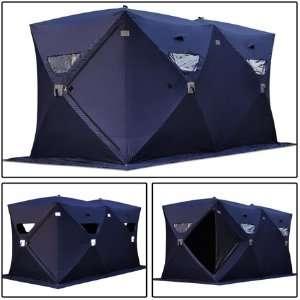 Dark Blue Portable Ice Fishing Shelter Tent 6 7 8 Man Person Fish