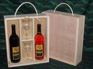 Triple Wood Wine Gift Box Crate Wood Front Glasses Slot