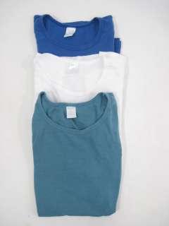 LOT 3 KURA Blue White Teal Long Short Sleeve Shirts M